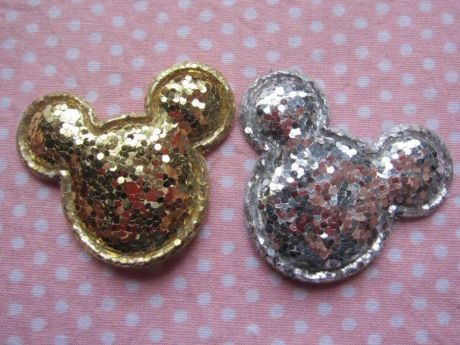 10 x 1.5 INCH SILVER + GOLD GLITTER MINNIE MOUSE HEAD APPLIQUE HEADBAND BOWS